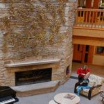 Fireplace in the great room at Ronald McDonald house