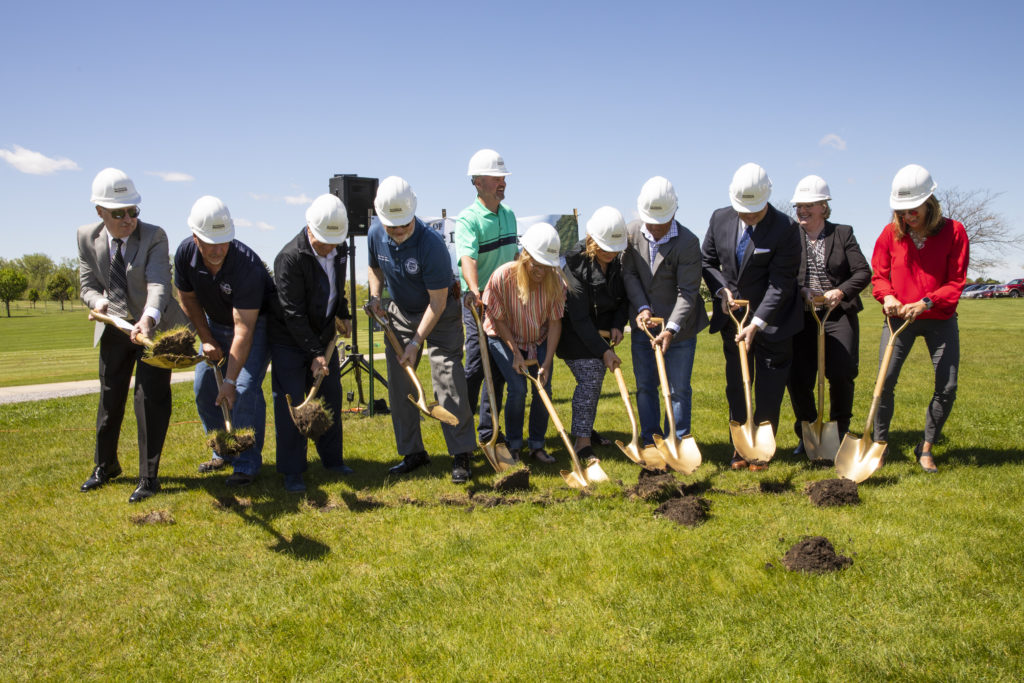 County officials join Range Time, LLC partners and the PSI team at the groundbreaking ceremony for Ives Grove indoor driving range and clubhouse