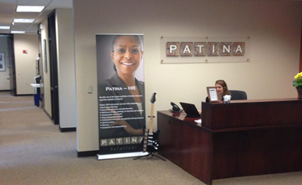 Receptionist desk at Patina Solutions
