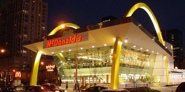 Night shot of 50th anniversary McDonalds